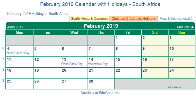 February 2019 Calendar With Holidays South Africa