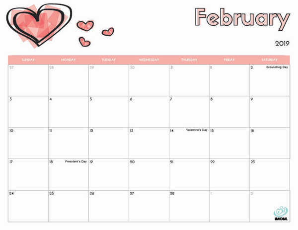 February 2019 Calendar With Holidays