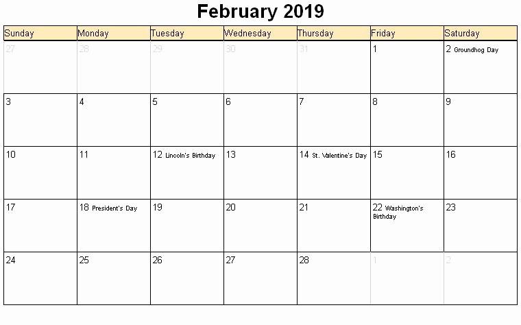 February 2019 Calendar Word with Holidays