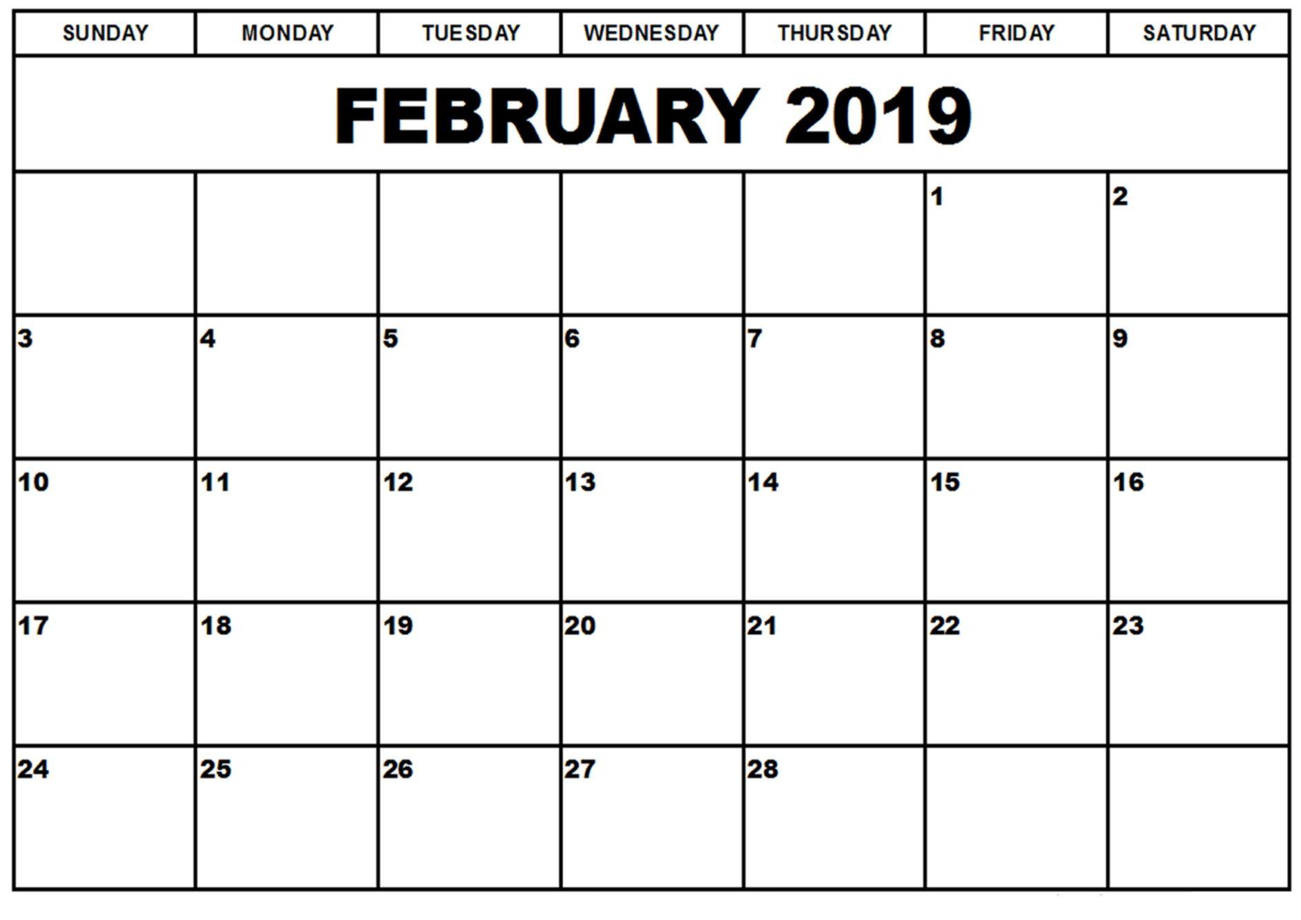 February 2019 Calendar to Print