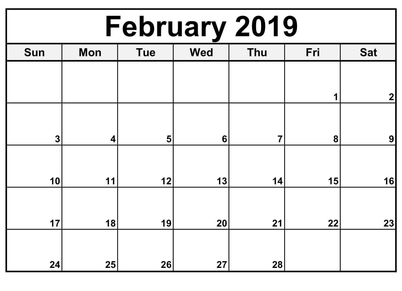 February 2019 Editable Calendar to Print