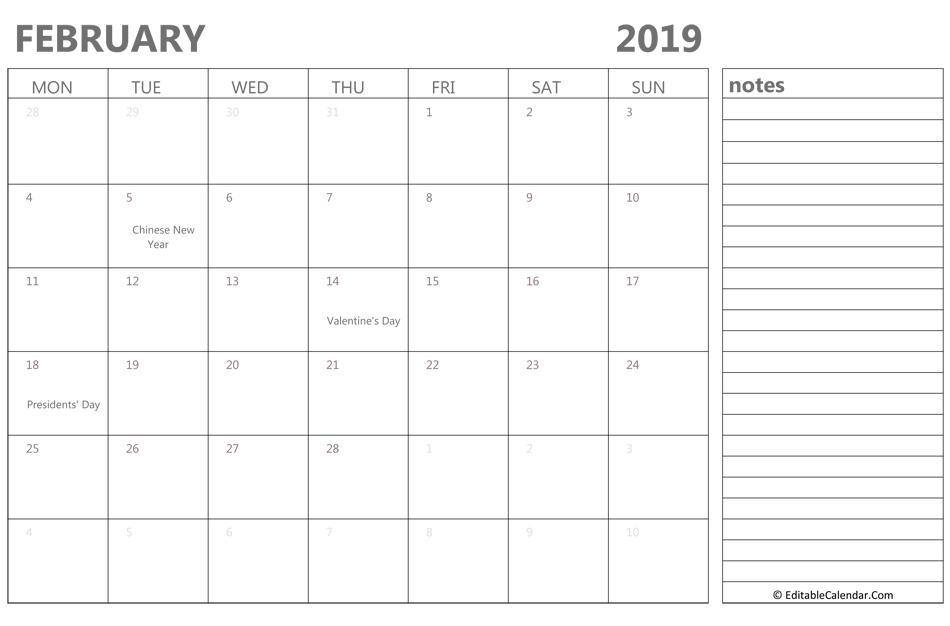 February 2019 Editable Calendar
