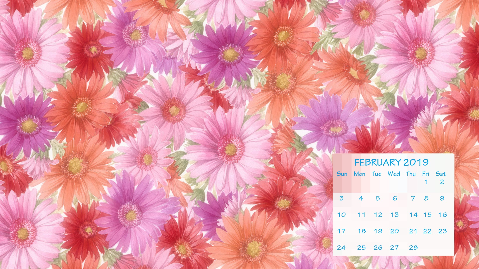 February 2019 HD Calendar Wallpaper