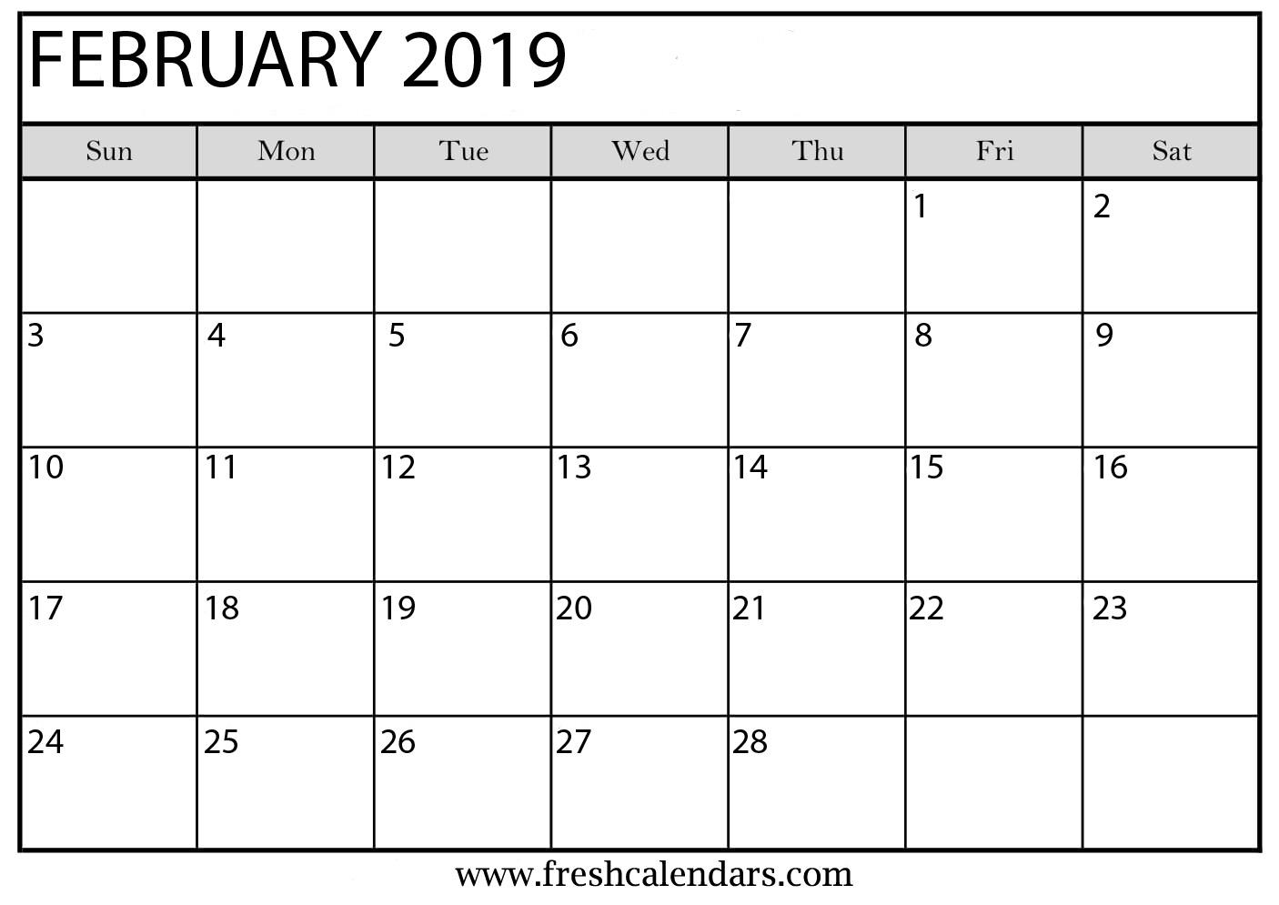 February 2019 India Calendar