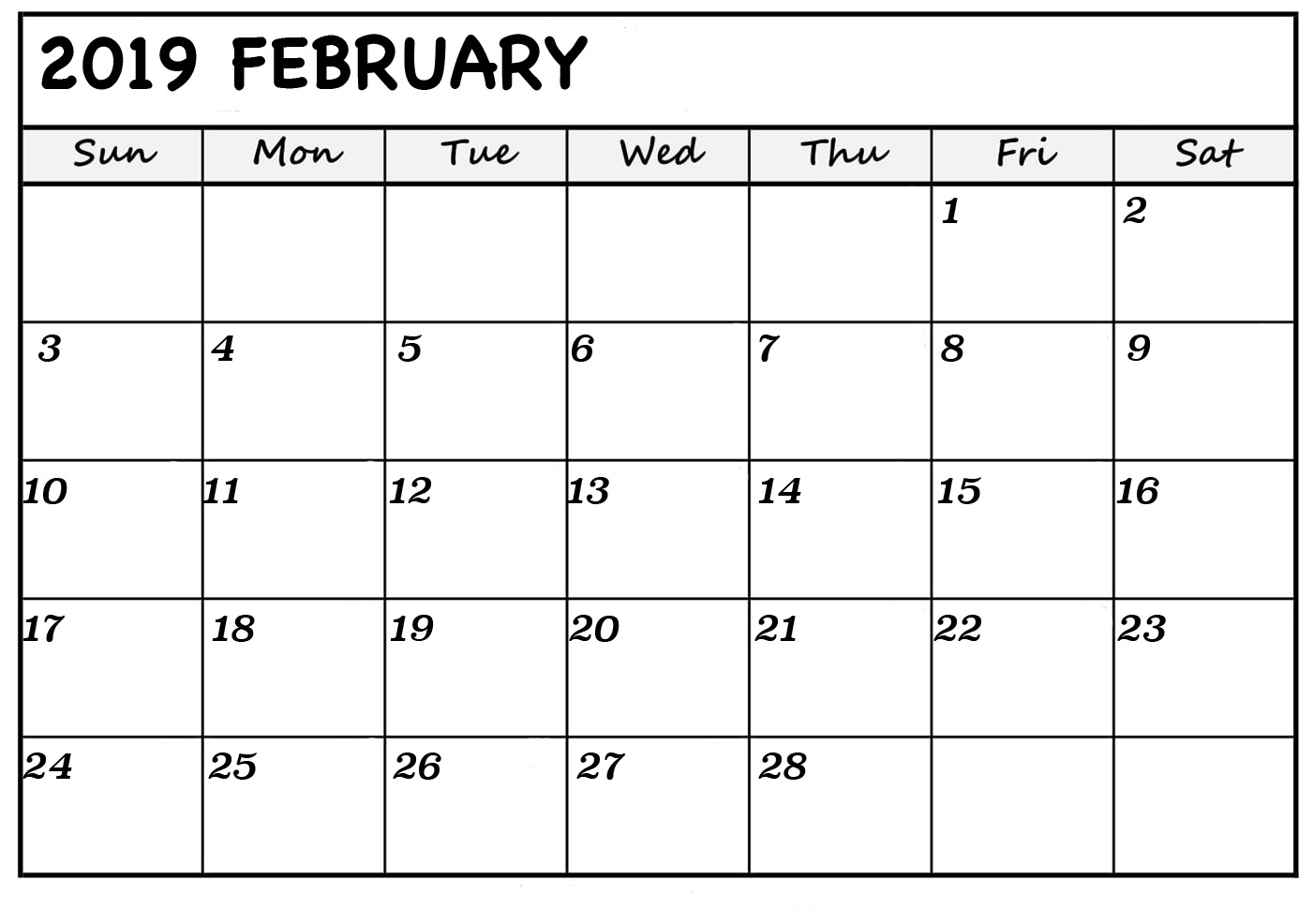 February 2019 Portrait Calendar