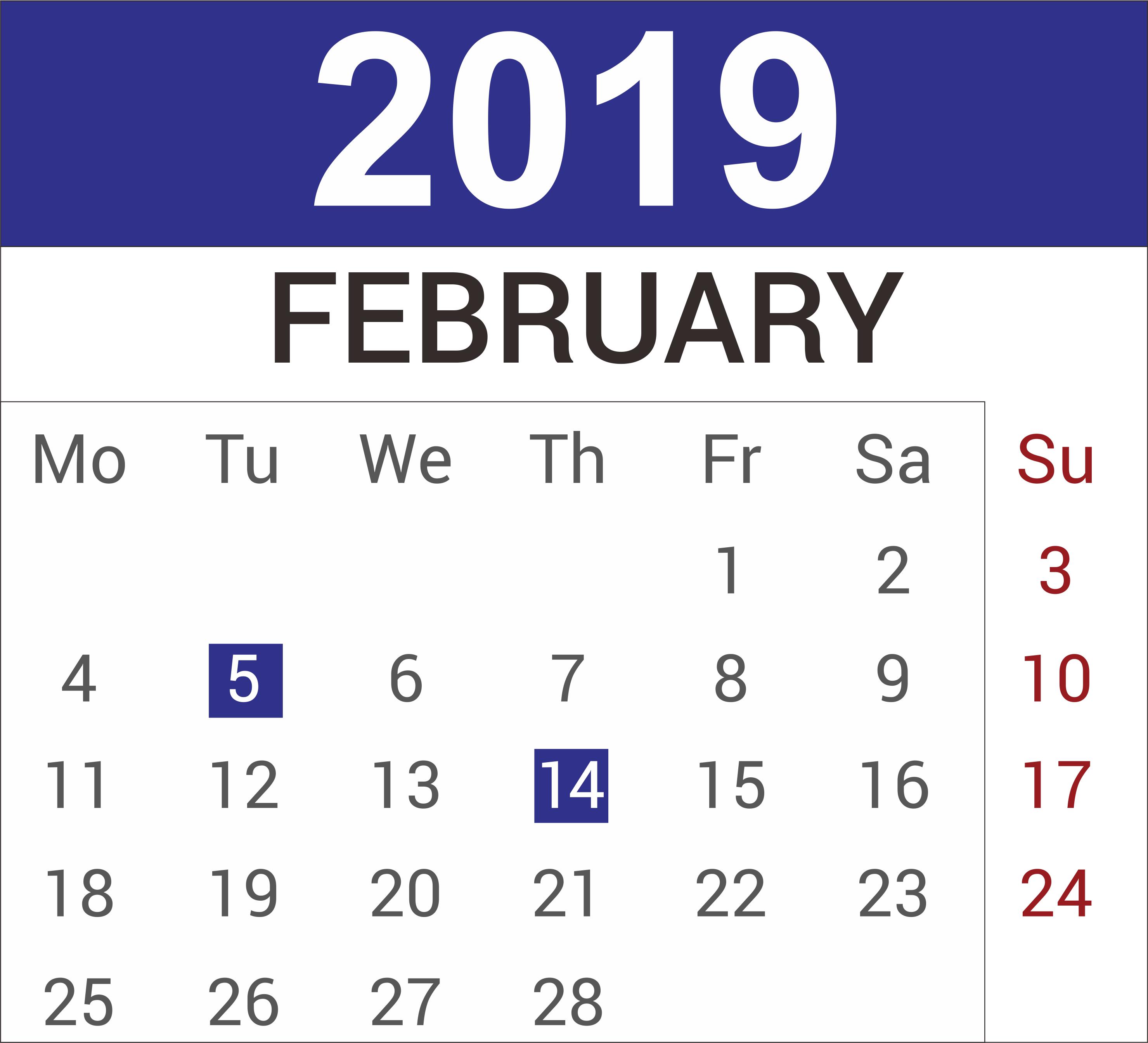 February 2019 Printable Calendar Page