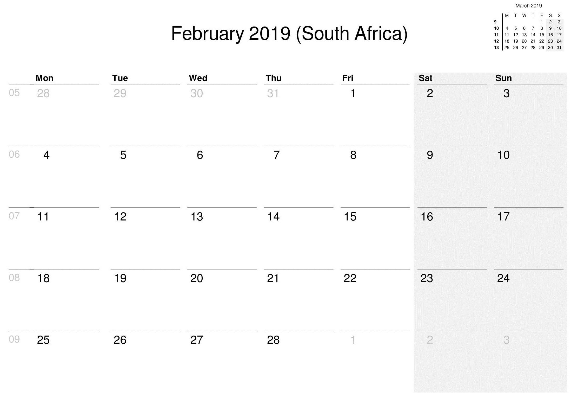 February 2019 Printable Calendar South Africa