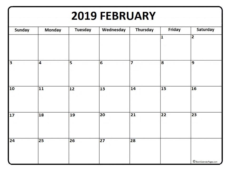 February 2019 Printable Calendar USA