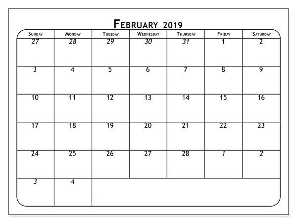February 2019 USA Calendar