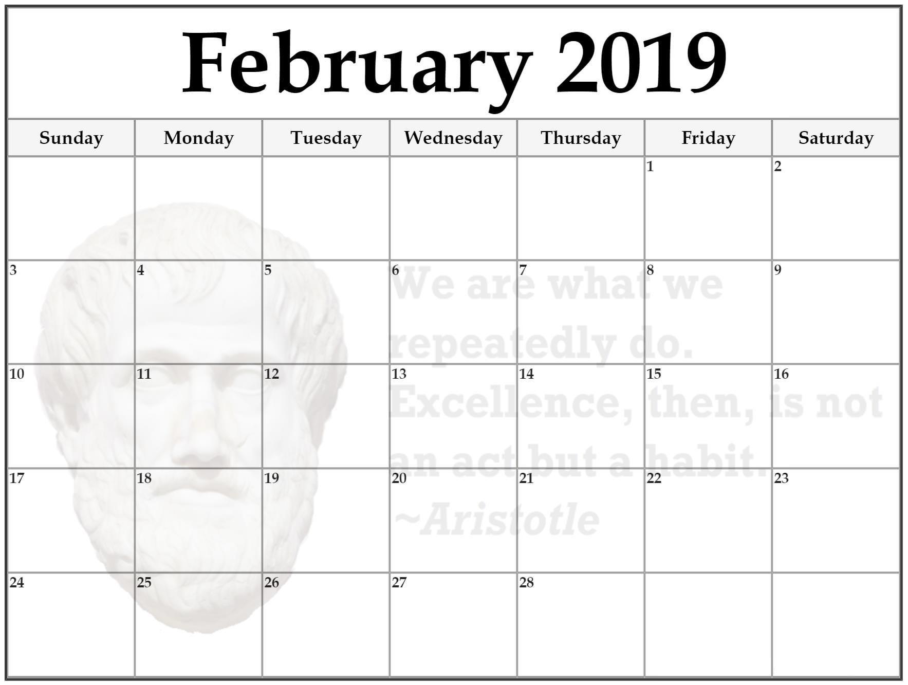 February Calendar 2019 Canada