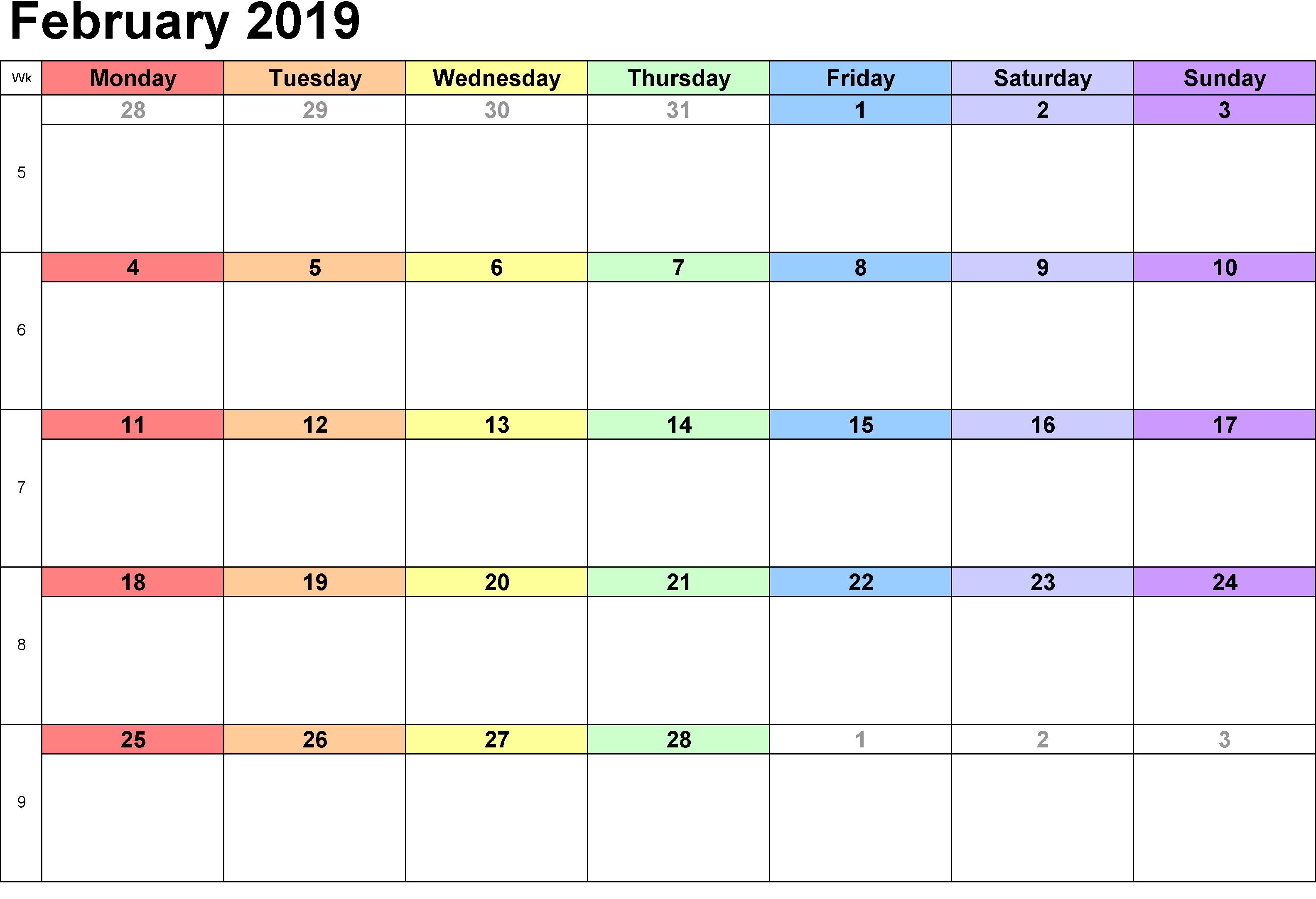 February Calendar 2019 Excel