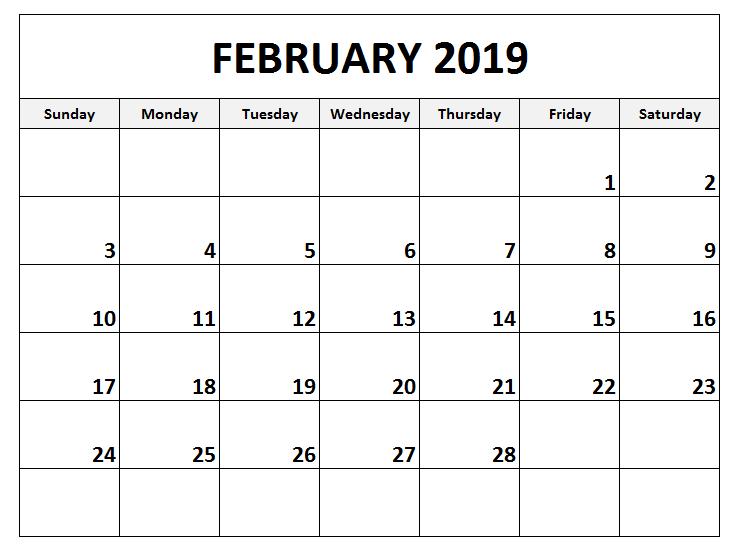 February Calendar 2019 Landscape