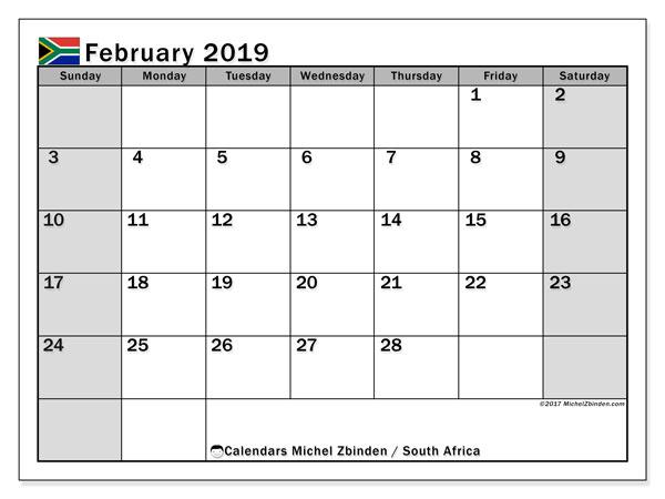 February Calendar 2019 South Africa