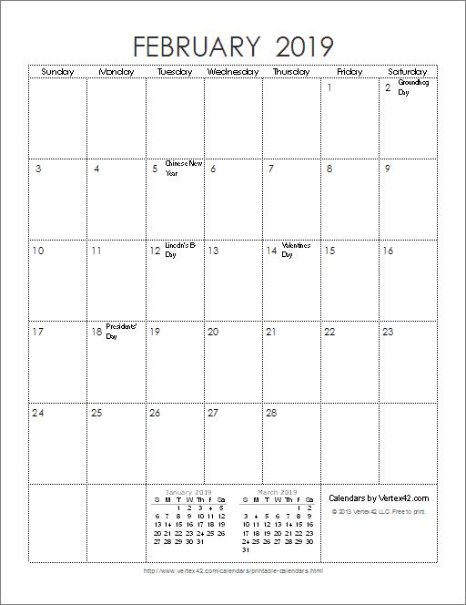 February Calendar 2019 Vertical
