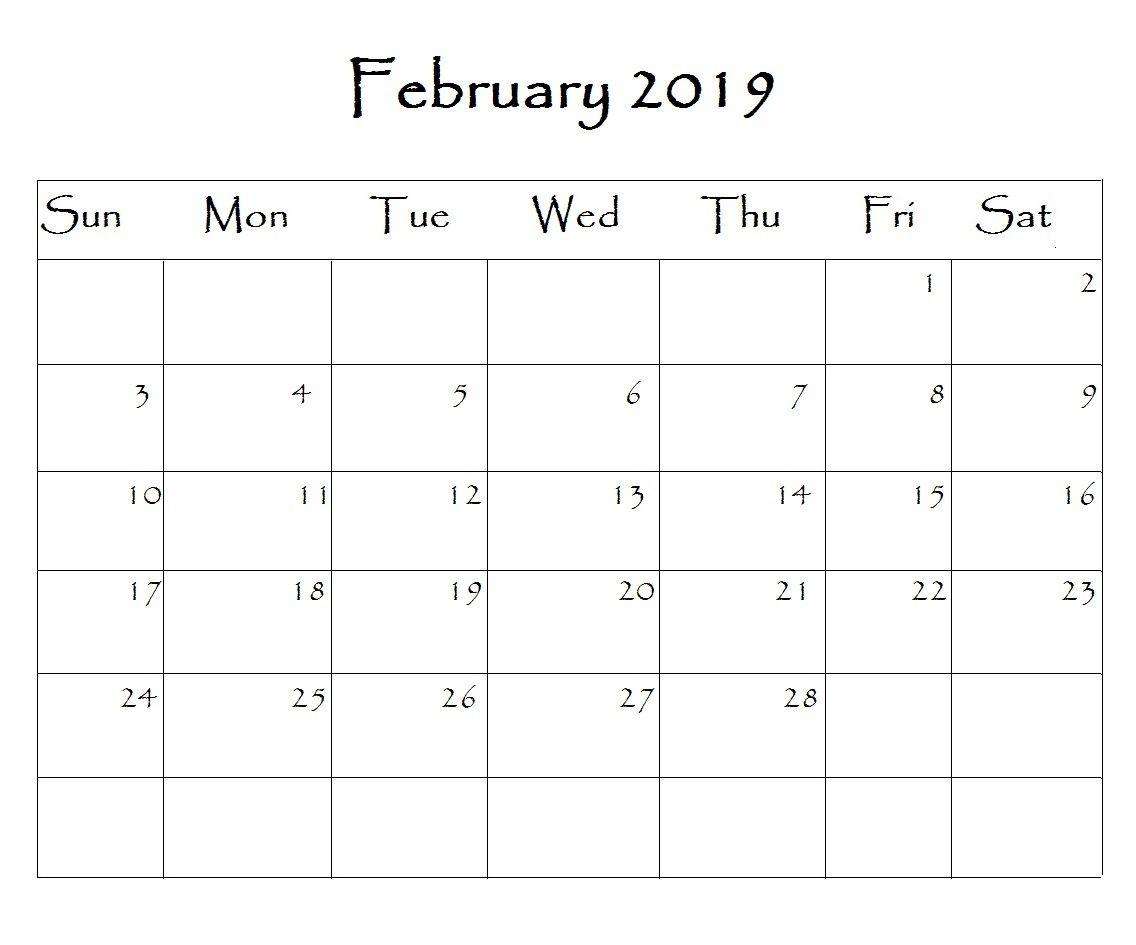 February Calendar 2019 Word