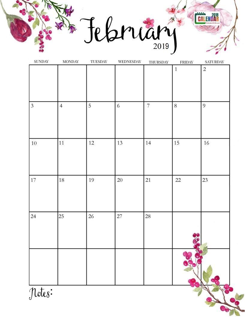Floral February 2019 Calendar Vertical