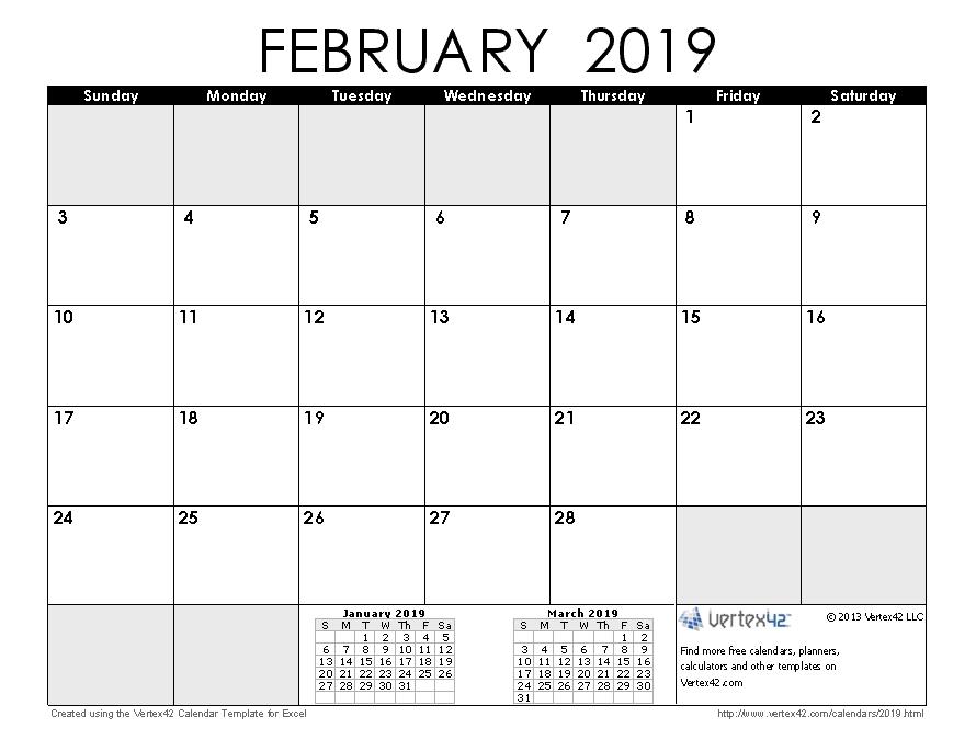 Free February 2019 Calendar Tumblr