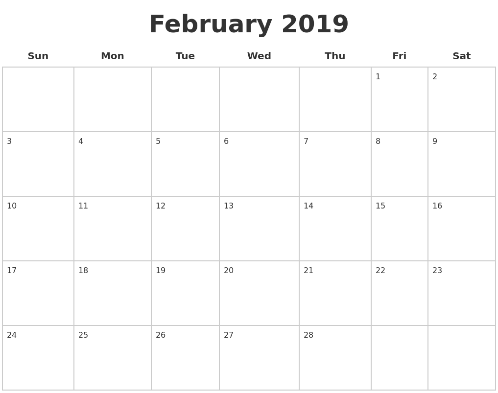 Free Printable February 2019 Calendar Page