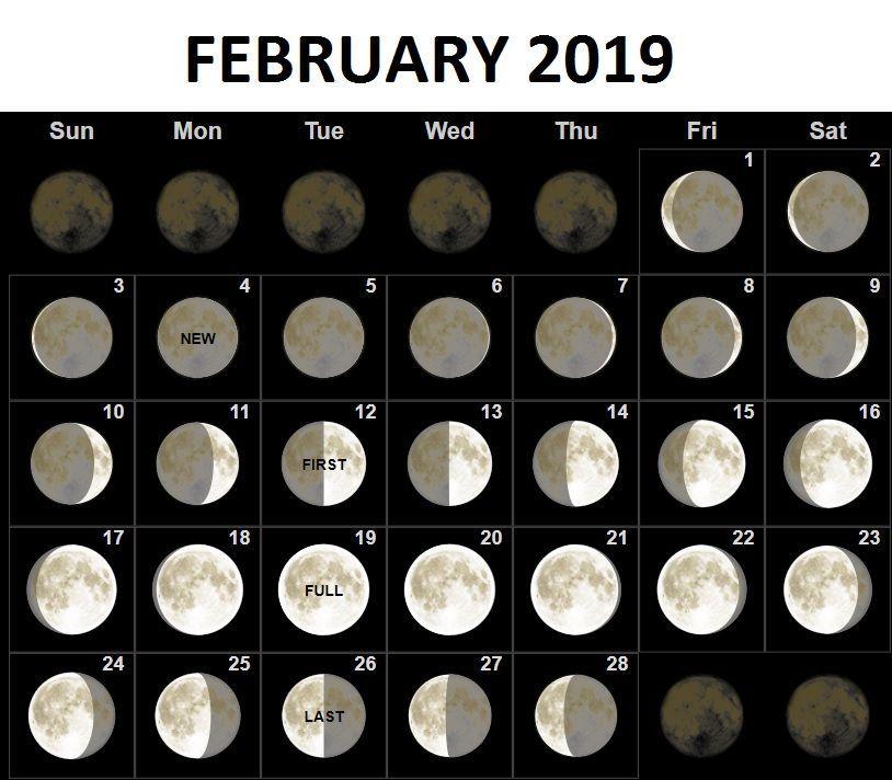 Full Moon Calendar February 2019