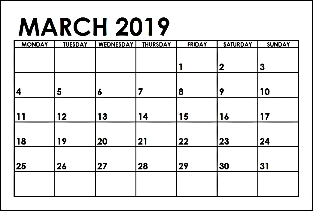 Full Page March 2019 Calendar