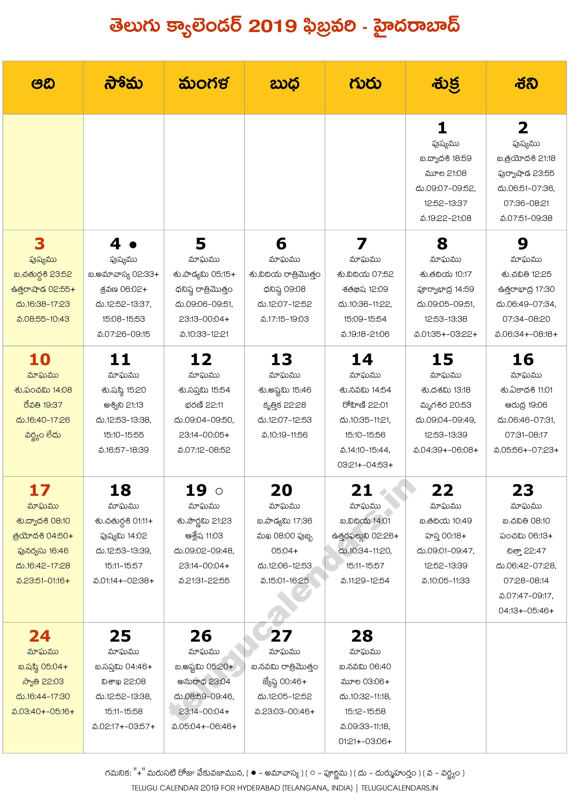 Hyderabad Telugu Calendar 2019 February