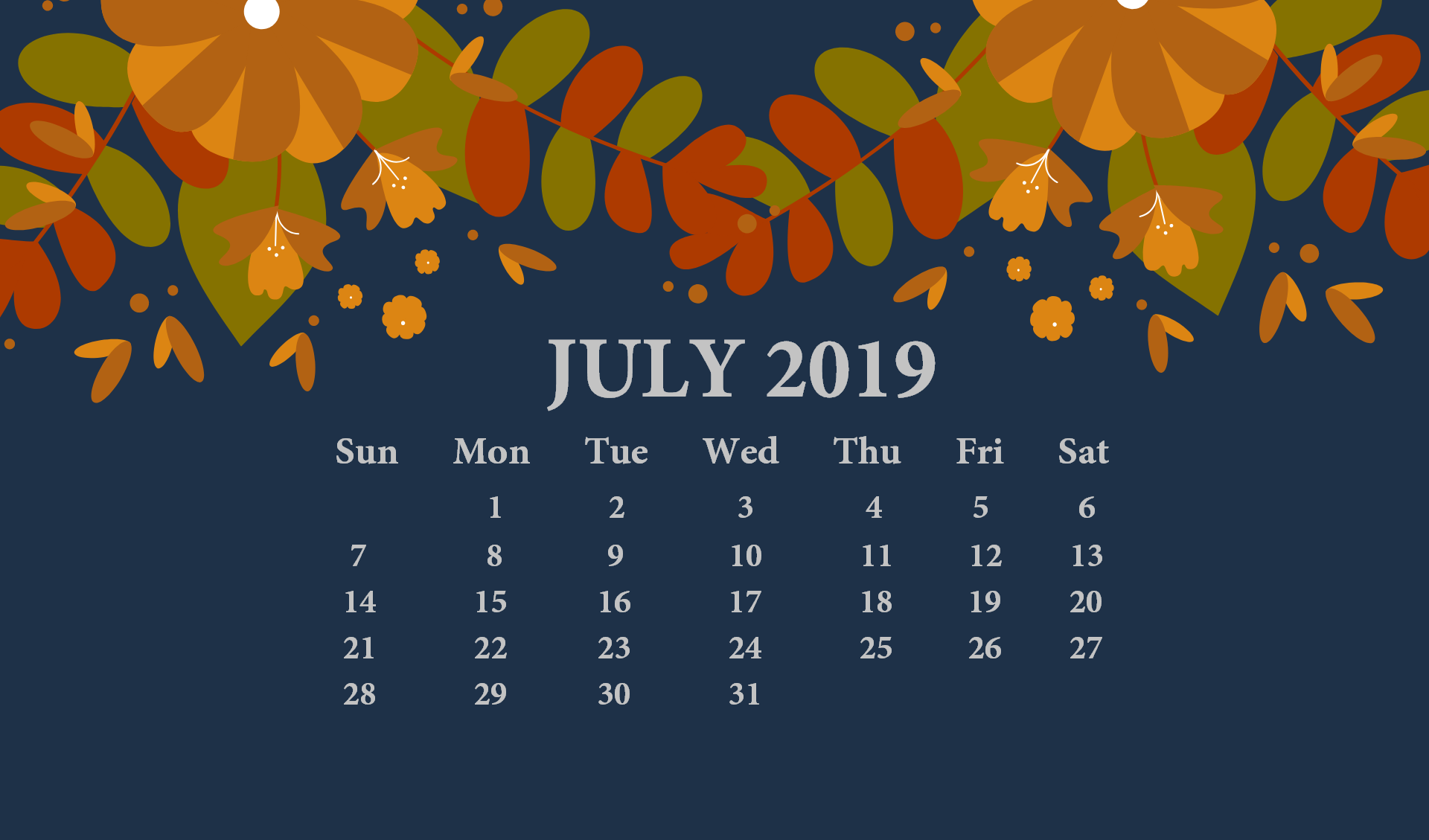 July 2019 Desktop Wallpaper With Calendar