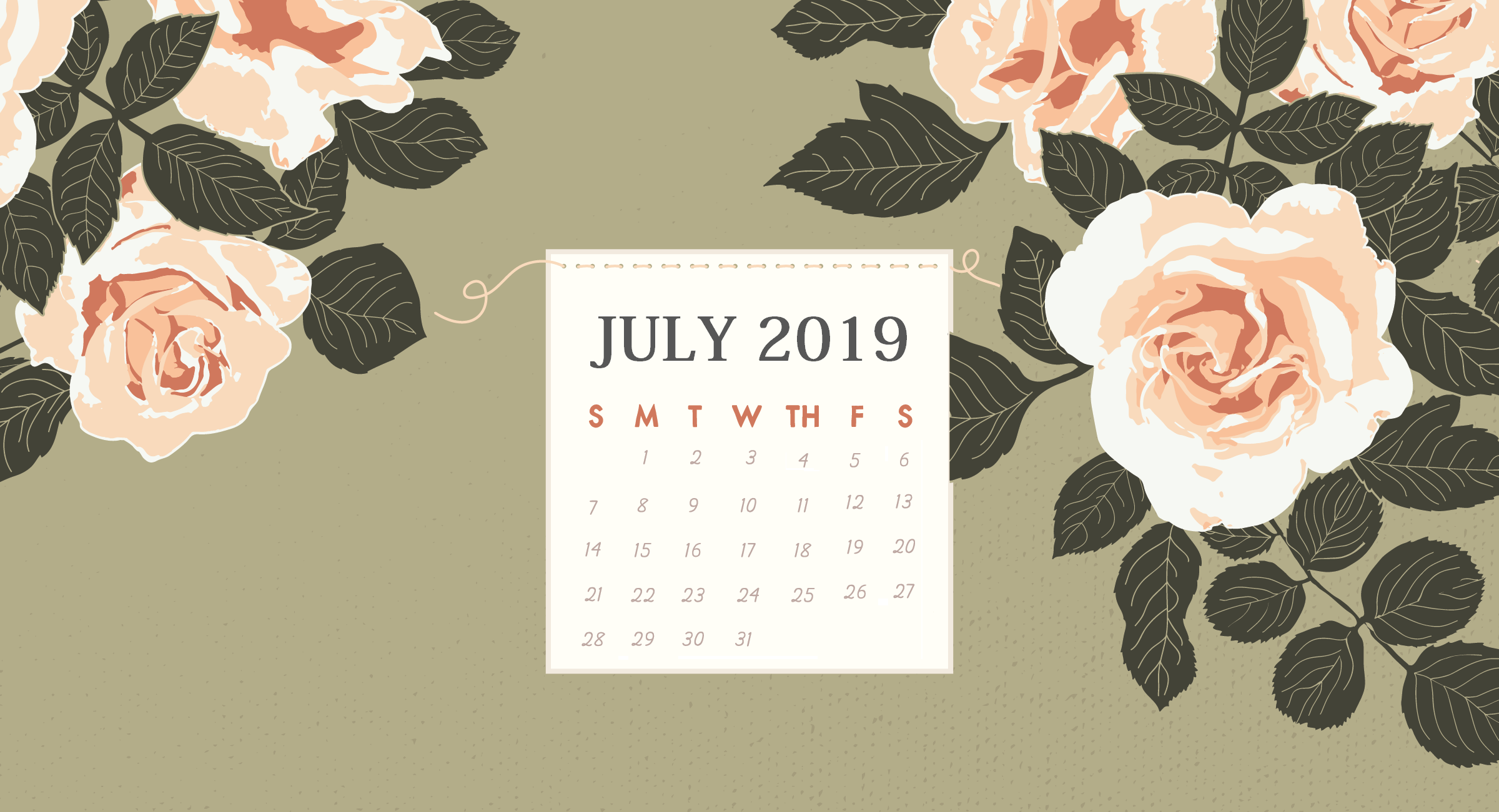 July 2019 HD Calendar Wallpaper