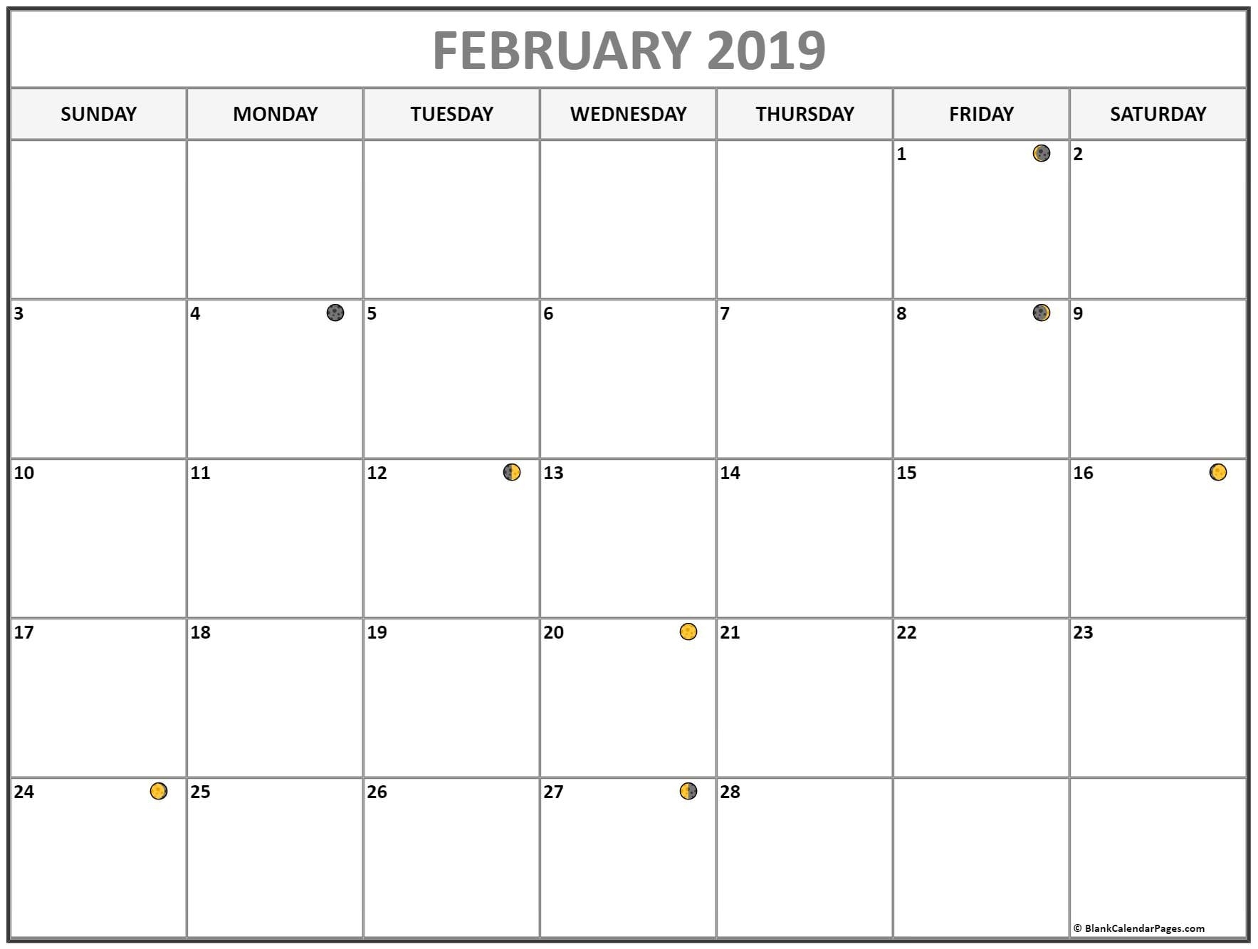 Lunar Moon Phases Calendar February 2019