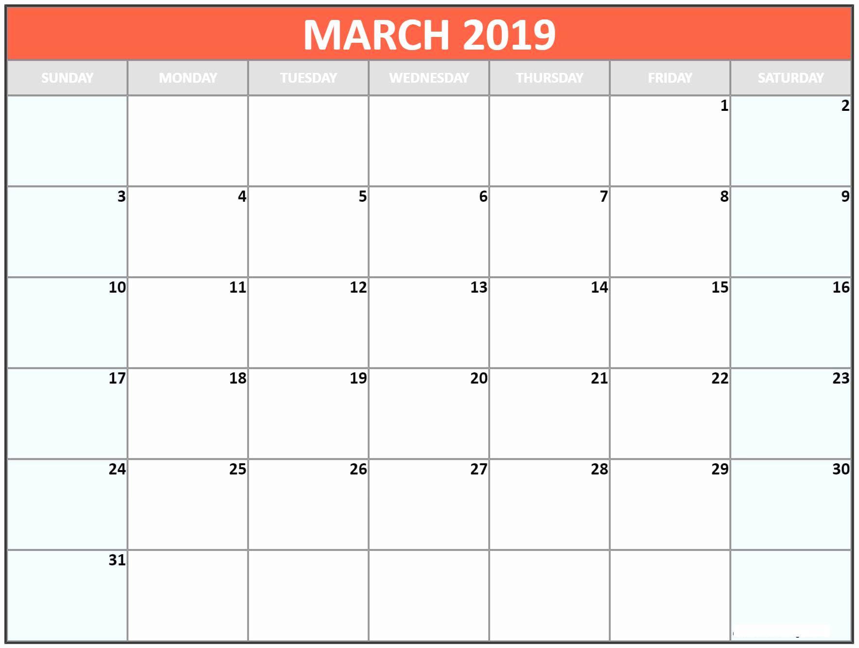 March 2019 Blank Calendar Template