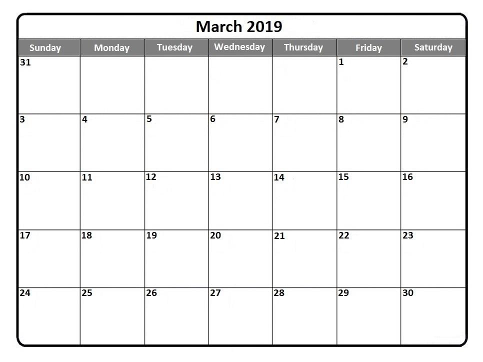 March 2019 Calendar Blank
