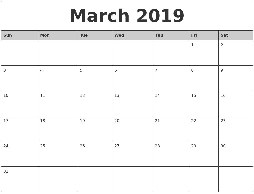 March 2019 Calendar Printable Template