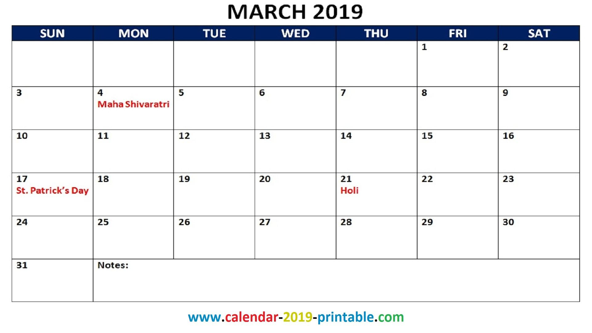 March 2019 Calendar Printable With Holidays