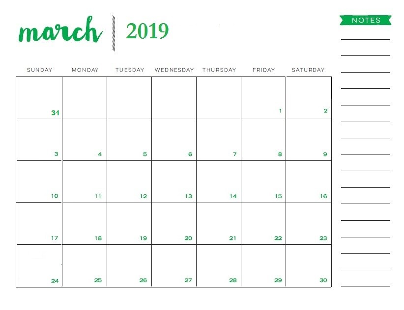 March 2019 Calendar Printable with Notes