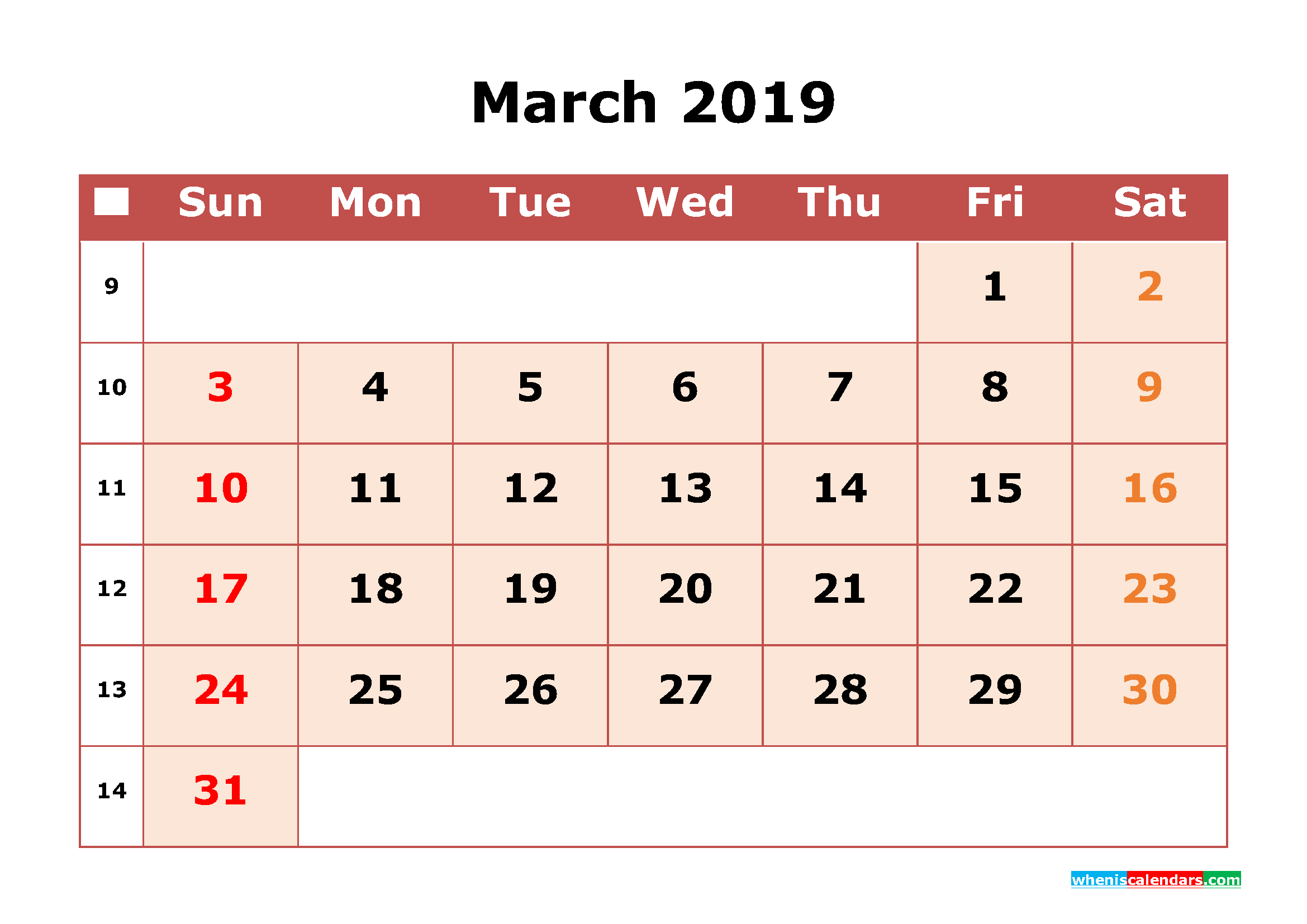 March 2019 Calendar South Africa Printable