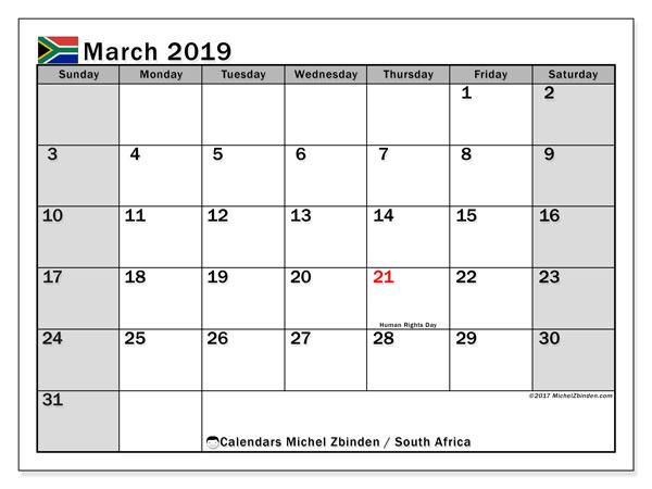 March 2019 Calendar South Africa