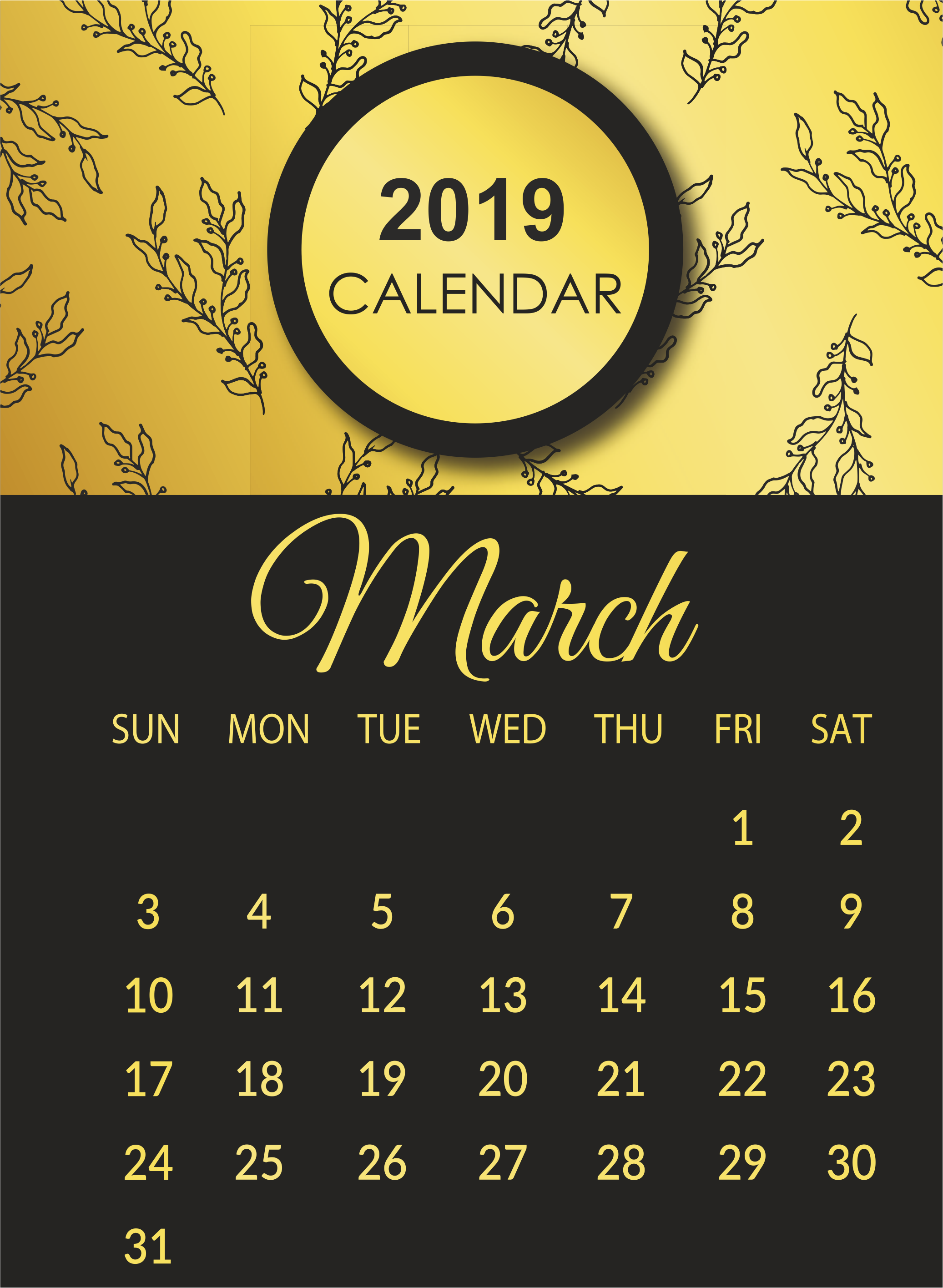 March 2019 Calendar Template Images