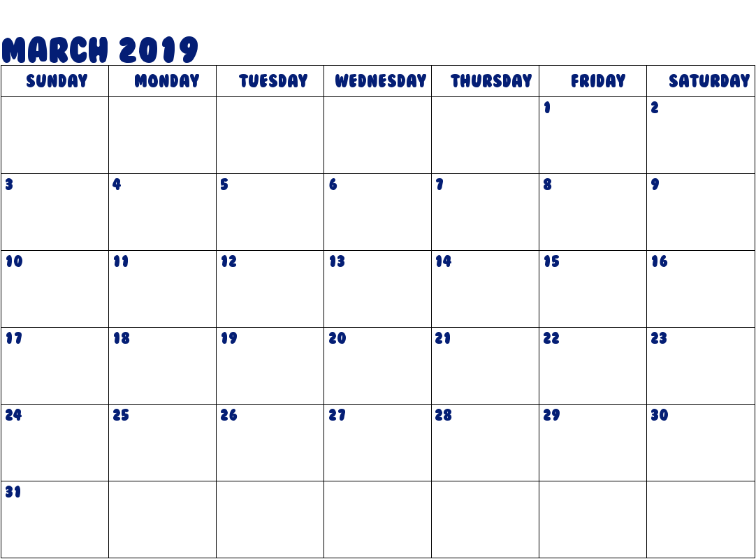March 2019 Calendar Template Word