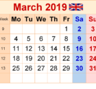March 2019 Calendar UK