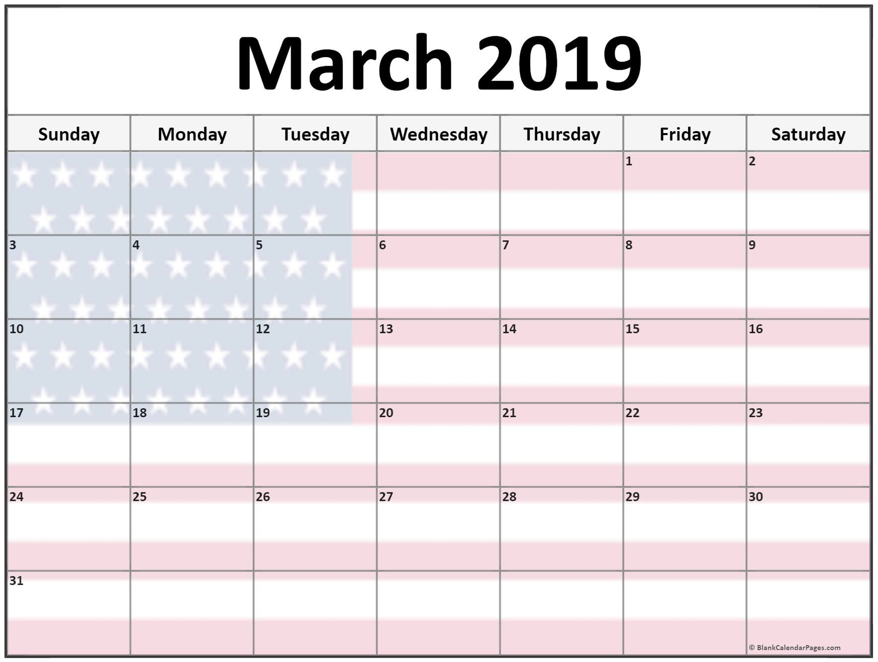 March 2019 Calendar USA Flag