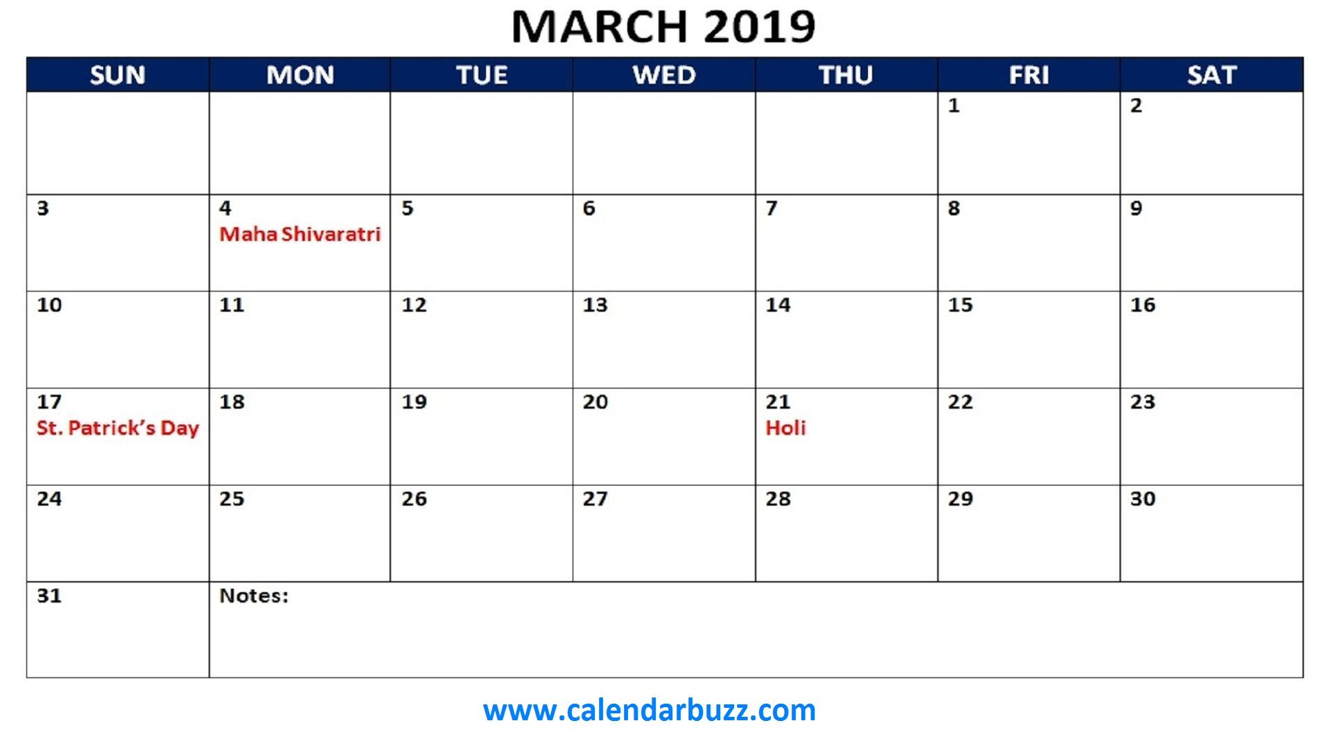 March 2019 Calendar With Holidays Printable