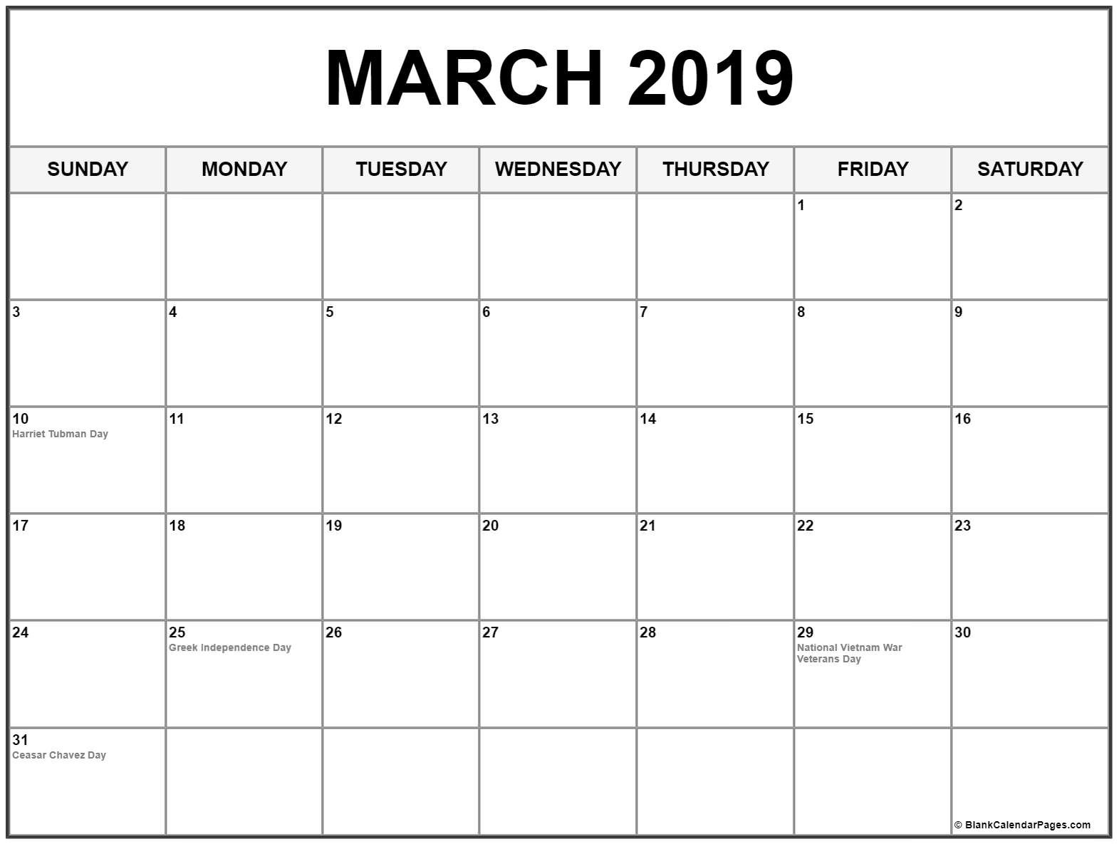 March 2019 Calendar With USA Holidays