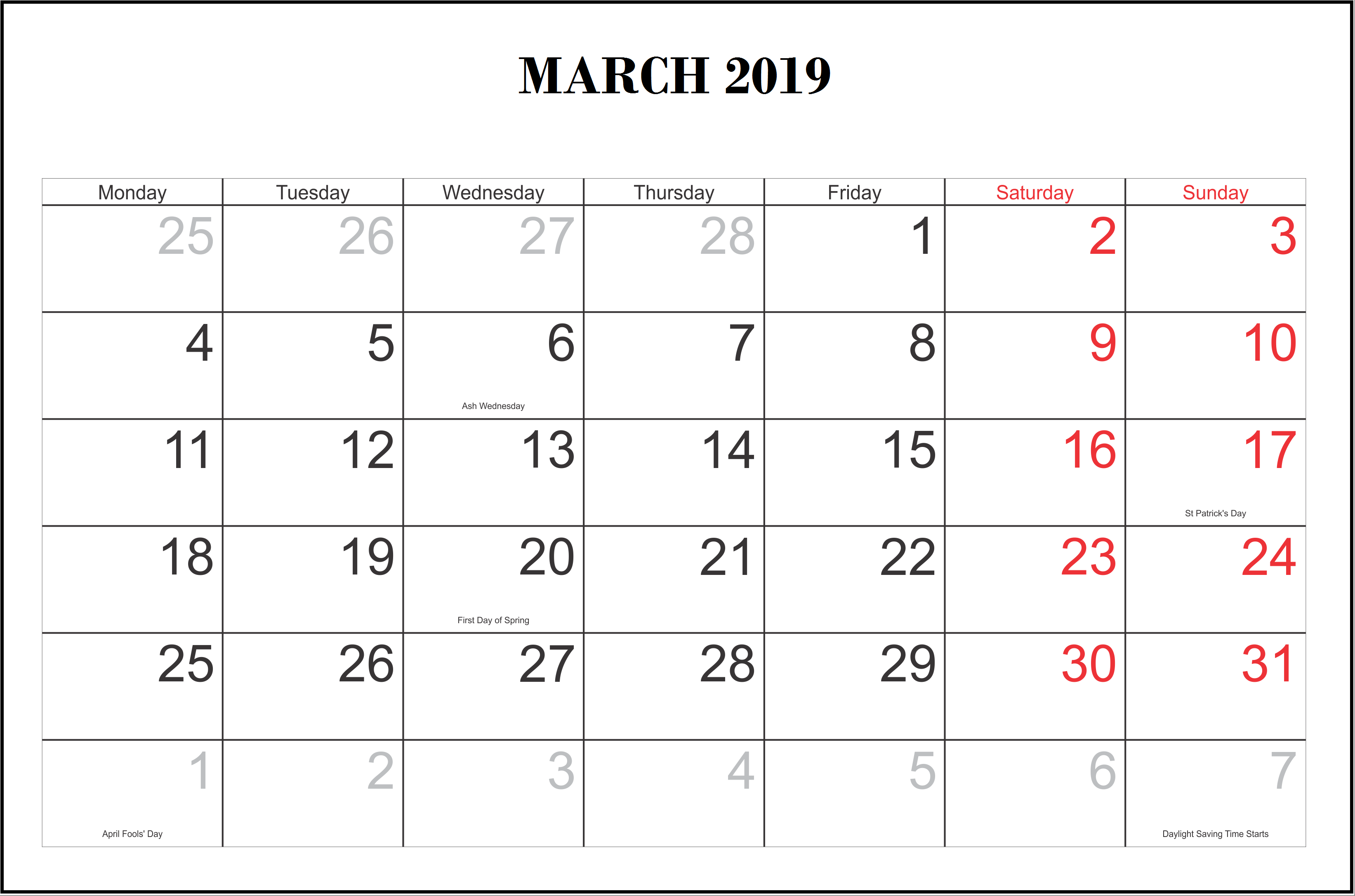 March 2019 Calendar Word with Holidays