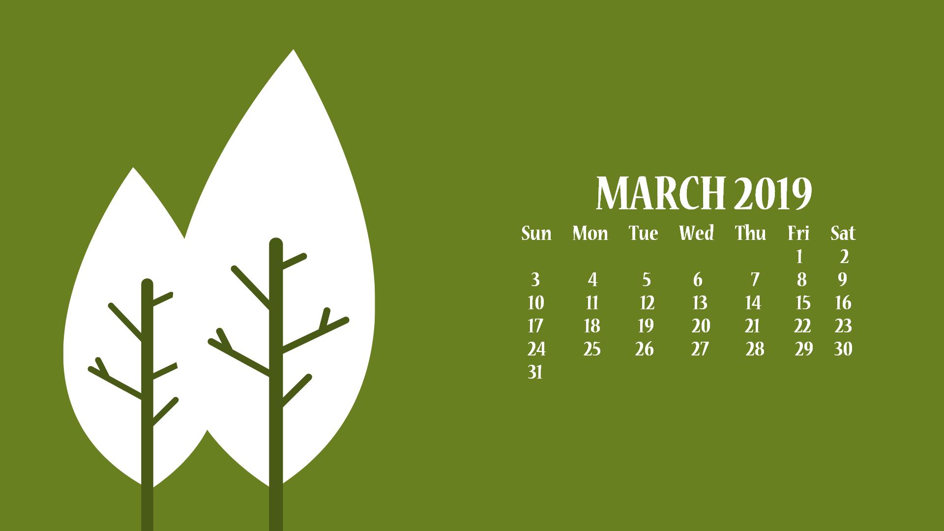 March 2019 Desktop Wallpaper With Calendar