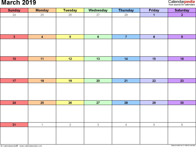 March 2019 Excel Calendar