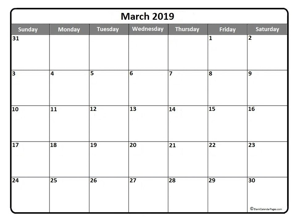 photograph about Printable March Calendar Pdf called March 2019 Calendar PDF