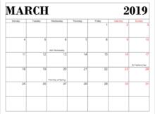 March 2019 USA Holidays Calendar