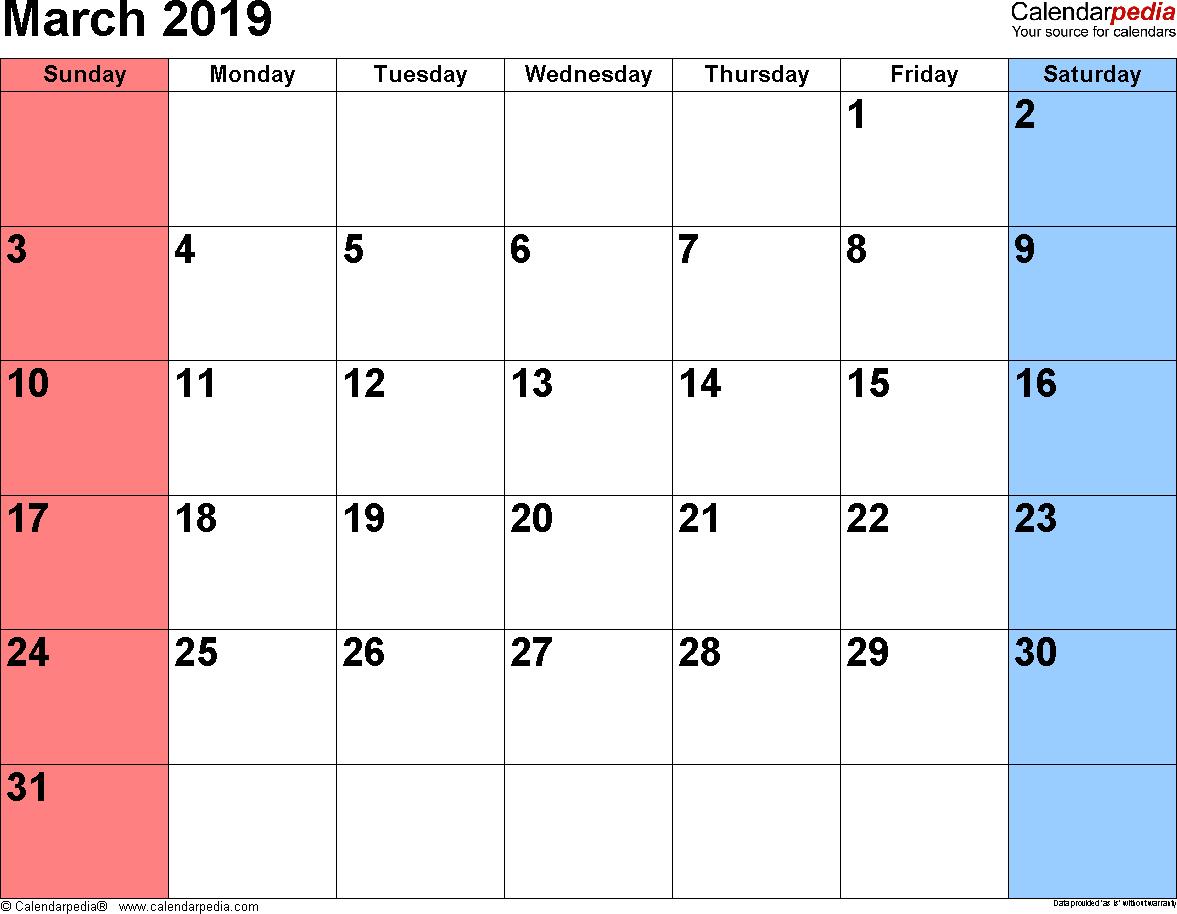 March Calendar 2019 Excel