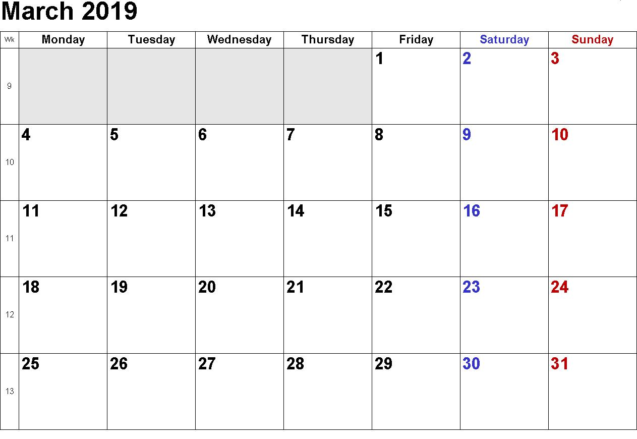 March Calendar 2019 USA