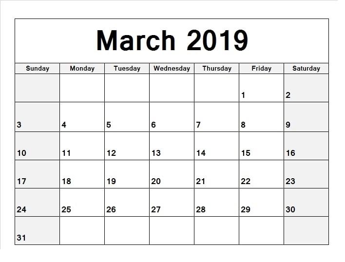 March Calendar 2019 Word