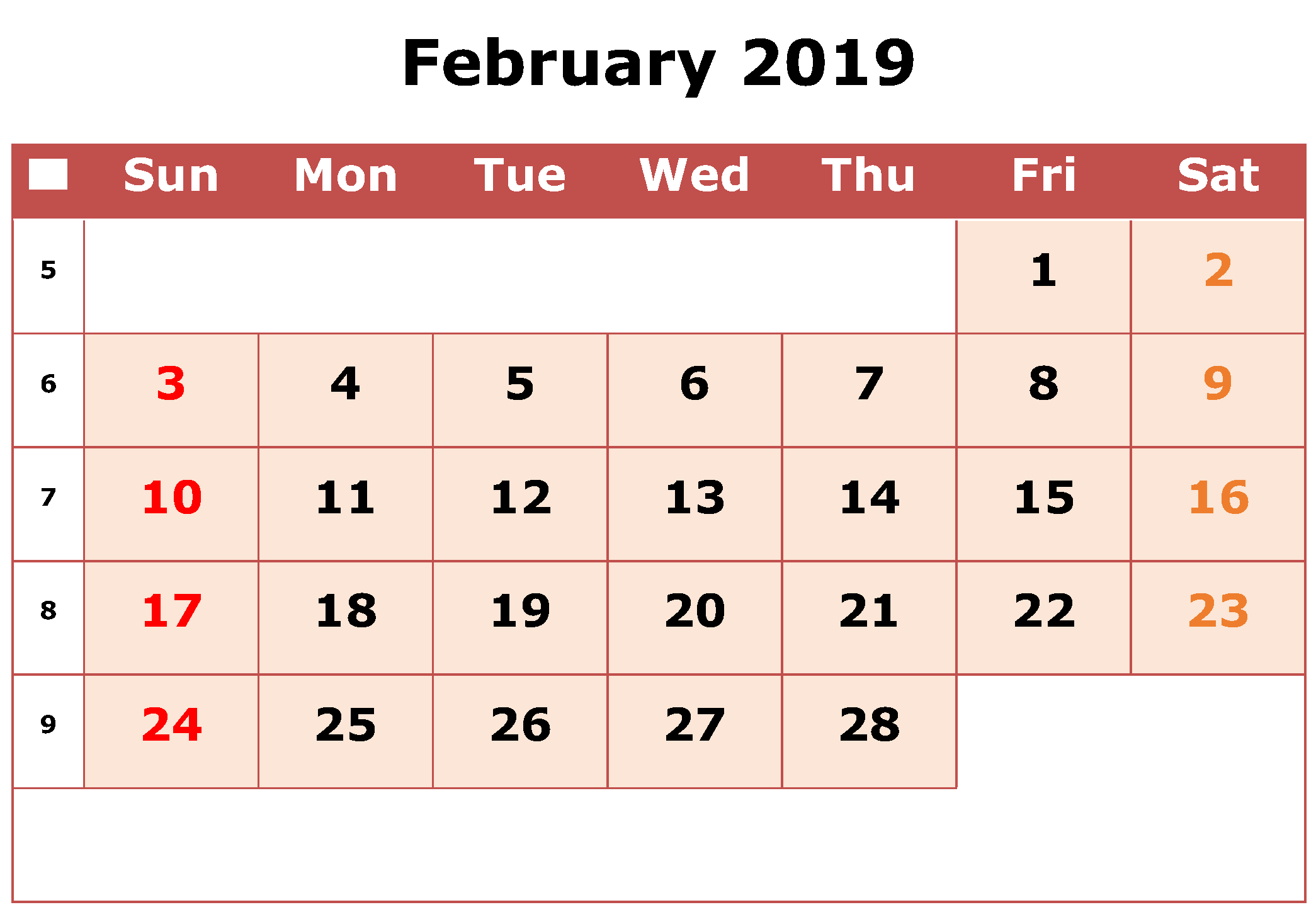 Monthly February 2019 Calendar Excel